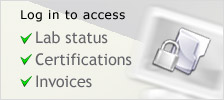 Log in to access Lab status, Certifications, Invoices.